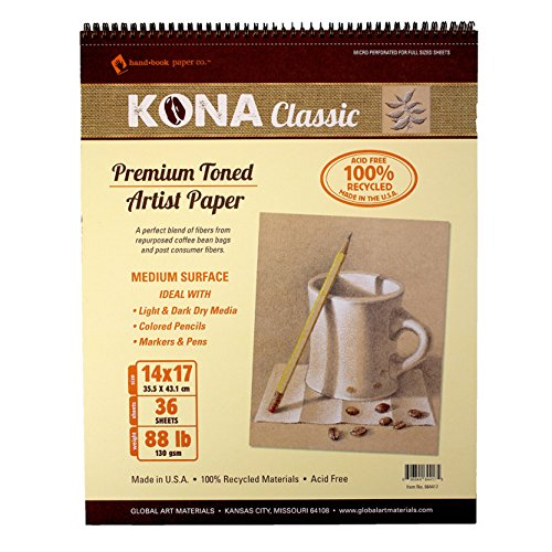 GLOBAL ART MATERIALS KONA CLASSIC TONED ARTIST PAPER PAD  14 BY 17-INCH BY GLOBAL ART MATERIALS
