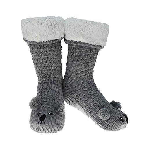 Calcetines Zapatillas Para Mujeres | De Primera Calidad | Tallas 37, 38, 39, 40.5 Y 40-41 | Calcetín De Novedad De Buho Perro Gato Esponjosos Y Con Forro | Regalo Adorable | Suelas Antideslizantes