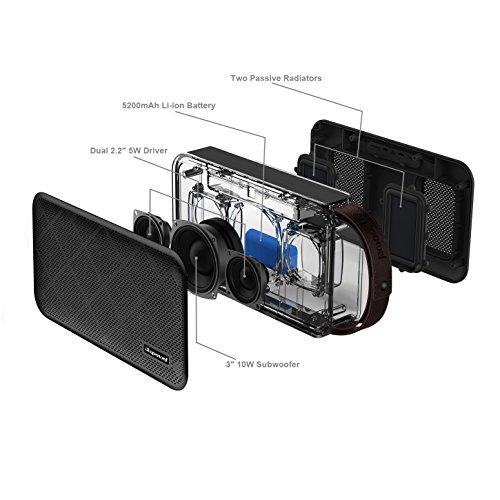 Simpowel V10 – Bluetooth Lautsprecher 4.0 Tiefer Bass 20W Tragbar Drahtloser Lautsprecher Mit TI 5 Serie DSP und Einbauen Micro SD MP3 plaer Mikrofon Bis zu 10 Stunden Spielzeit (Schwarz) - 5