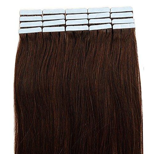 Extension capelli veri biadesivo riutilizzabili con biadesive- 40cm 80g 40 ciocce 02# marrone scuro - 100% remy capelli umani naturali lisci