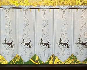 alles spitze rideau brise vue en dentelle de plauen motif kajani hauteur 45 cm tissu blanc. Black Bedroom Furniture Sets. Home Design Ideas