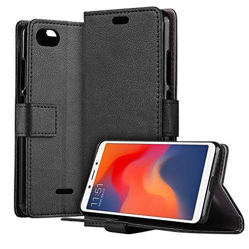 HDRUN Xiaomi Redmi 6A Leder Hülle - Premium PU Leder Flip Tasche Case mit Kartensteckplätzen und Ständerfunktion Schutzhülle Handyhüllen für Xiaomi Redmi 6A, Schwarz