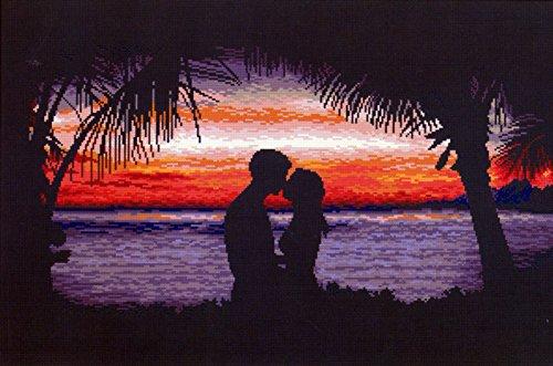 CSC Gold Premium - Ein Kuss unter Palmen - gestickt wird im gezählter Kreuzstich - nicht vorgedruckt! (Palme Gestickte)