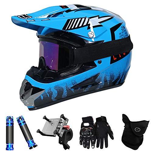 QYTK® Full Face Motocross Helm Enduro Set, MT-57 Blau Motorradfahren Off-Road Motorradhelm mit Visier Brille Handschuhe Maske Motorrad Griffe Handyhalter per ATV BMX Moped Schneemobil,XL