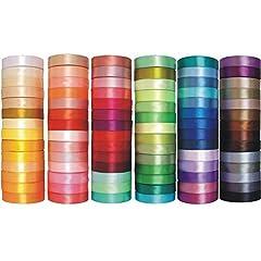 Idea Regalo - e-kurzwaren Nastro di Raso 3mm / 6mm / 12mm / 25mm / 38mm / 50mm; 32m / 91m Nastrini Poliestere Decorativo per Fai da Te Regalo Matrimonio Bomboniere, 84 Colori