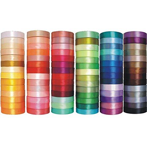 e-kurzwaren Nastro di raso 3mm/6mm/12mm/25mm/38mm/50mm; 32m/91m Nastrini Poliestere Decorativo per Fai da Te Regalo Matrimonio Bomboniere, 84 Colori
