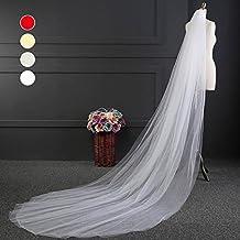 UKBIOLOGY - Velo de novia con borde encaje y peineta. Medidas: 3 m de
