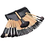 #8: Tribecca 24Pcs Makeup Brush Set Wooden Handle With Leather Pouch