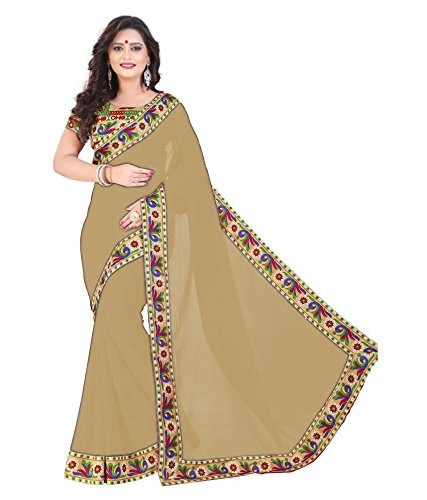 D7 Fashion Women's Beige Color Chiffon Silk Saree With Blouse Piece.