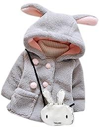 VENMO Bebé de las niñas de piel de invierno caliente abrigo con capucha capa chaqueta gruesa ropa caliente 6 Mes - 2 Años