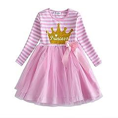 Idea Regalo - VIKITA Vestitos Bambina Principessa Unicorno Casuale Cotone Abiti LH4561 7T