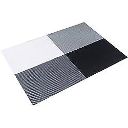 TININNA juego de 4 pcs ,diseño de la rejilla de aislamiento de PVC colorido comedor manteles individuales - comedor manteles para mesa de aislamiento de calor de la estera comer estilo Simple (Negro)
