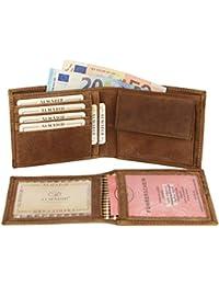a80fb60183918 ALMADIH Leder Portemonnaie Premium Rindsleder querformat - 15 Kartenfächer  Braun Vintage Schwarz - Herren Geldbörse Geldbeutel…