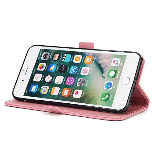 EKINHUI Case Cover Fairy Girl & Flowers Embossing Style Synthetik Leder Tasche Horizontale Flip Stand Brieftasche Tasche mit Lanyard & Card Slots für iPhone 7 Plus ( Color : Green ) Pink