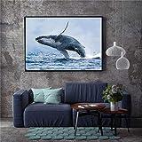 tzxdbh Nordic Wandkunst Shark Dolphin Leinwand Malerei Bild Skandinavischen Poster Nordique...