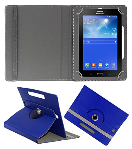 Acm Rotating 360° Leather Flip Case For Samsung Galaxy Tab 3 T111 Neo Tablet Tablet Cover Stand Dark Blue  available at amazon for Rs.149