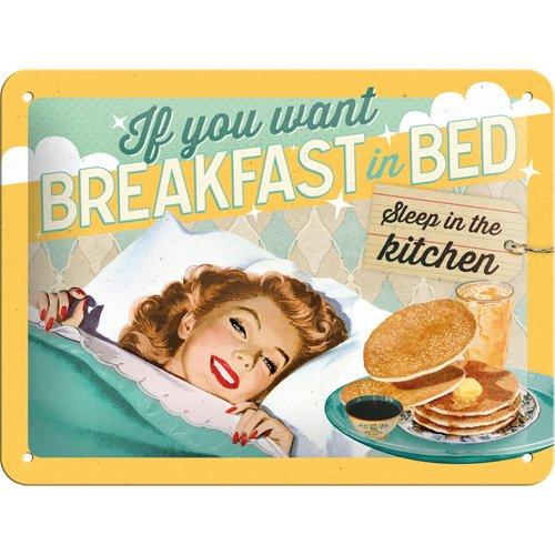 Cartel de chapa 15x20 -Breakfast in Bed