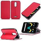 Wiko Upulse LITE 4G/LTE Dual Sim Tasche Leder Schutzhülle rot Cover mit Stand - Zubehör Etui Wiko U pulse Lite 2017 / 2018 5.2 zoll Flip Case (PU Leder, Handytasche Hülle Red) - XEPTIO accessories