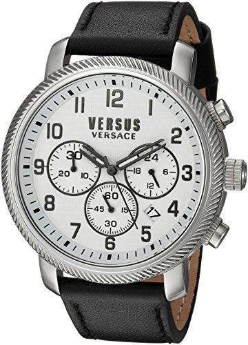 Versus by Versace hombres de Hoxton cuadrado de cuarzo reloj Casual de piel y acero inoxidable, color: negro (modelo: s70020016)