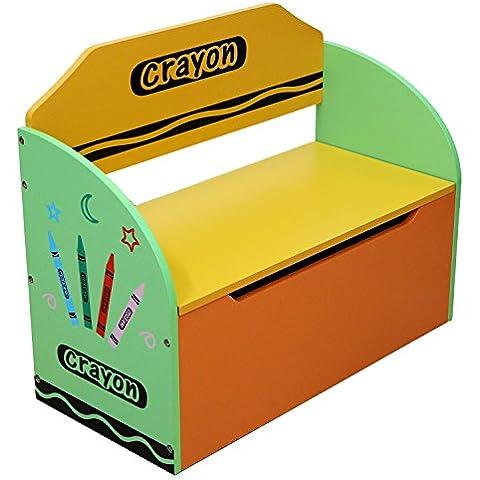 Bebe Style - Caja de almacenamiento y banco, para juguetes infantiles, de madera