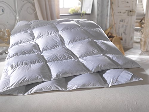 Neu Luxus Daunendecke 135x200 cm Decke hochwertige Gänsedaunen Daunen 4cm hohe Innenstege Down Douvet (1400g)