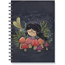 Alicia Souza, Mushroom Girl Notebook, spiral, ruled, A5 hard cover, 70 pages, notebooks in cute & stylish designs. Ideal gifting ideas under 500.