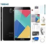 TEENO Smartphone 4G Débloqué 6' Pouces HD Noir (Android 7.0-Double SIM-Double Caméras-Quad Core) Téléphone Mobile + Accessoire