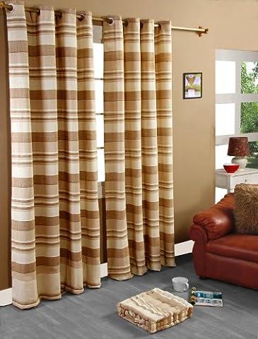 Homescapes handgewobener Vorhang Morocco im 2er Set Ösenvorhang 117 x 182 cm (Breite x Länge) Dekoschal in Streifen-Optik aus 100% reiner Baumwolle in