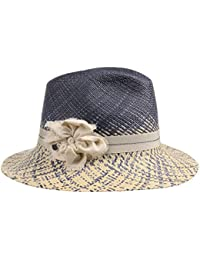 Malisa Panama Damenhut Sommerhut Sonnenhut Strohhut Strandhut für Damen Strohhut Panamahut Sommerhut mit Ripsband Frühjahr Sommer