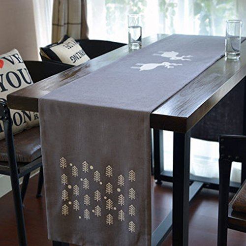 QiangZi Table Runner Bilayer Elk Nappe Fête D'anniversaire Vacances Restauration Restaurant Napperon Easy Care Gris, 35 * 260CM ( taille : 35*260CM )