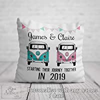 MR & MRS Cushion - Personalised Bride and Groom Wedding Gift | Engagement Gift - Campervan Decorative Pillow with Couple's Names 40 x 40cm / 16 x 16in Cushion Cover Pillowcase