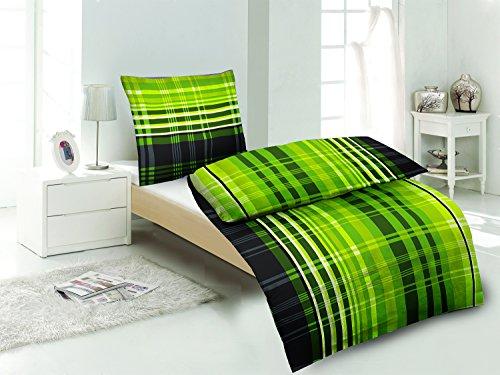 4-tlg.Sommer-, hauchdünne, kühlende Microfaser Bettwäsche grün kariert 2x 135×200 Bettbezug + 2x 80×80 Kissenbezug mit Reißverschluss