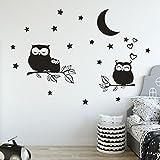 Wandaufkleber, erthome Wandtattoo 3D DIY Eule Sterne Mond Wand Aufkleber Wall Sticker Abnehmbare Art Familienzimmer Dekor