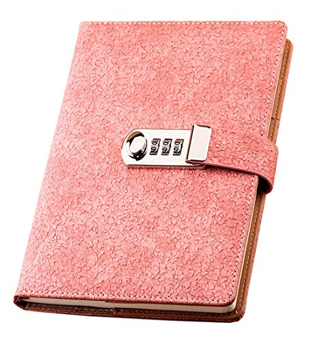 Lirener Retro PU Leder A5 Tagebuch Notizbuch Notebook Skizzenbuch Journal Planer Organizer, Passwort Tagebuch Notizblock Sketchbook Memo Tagebuch Mit Schloss Code Passwort, 209x150mm