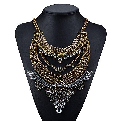 Cexin moda vintage argento oro Boho lunga dichiarazione collana alla moda Bohemian Turco per le donne accessori da Indiano Gioielli, base metal, colore: oro, cod. JEXL-0019-1