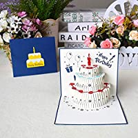 XNX Pop Up Greeting Card,Birthday Handmade 3D Pop up Birthday Card for Women Men Kids with Envelope Laser Cut Gift Cards (Blue 13X15CM)
