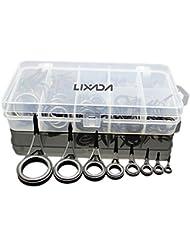 Docooler Lot de 75 anneaux de canne à pêche en différentes tailles, pour pêche au lancer, kit de réparation