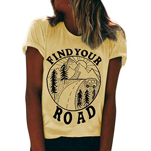 Evansamp Find Your Road Frauen Print Weste Dame Kurzarm Lose Crop Tops Tank Tops Bluse Tops T-Shirt(Gelb,XL) -