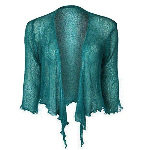 Janisramone Bolero da donna, da allacciare sul seno, in maglina elasticizzata Teal