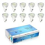 10er Pack 6Watt GU10 LED Lampen Spotlicht Lampe Kaltweiß 6500K (Ersatz für 60W Halogenlampen) 500lm GU10 LED Birnen LED Leuchtmittel 120 Grad Abstrahlwinkel