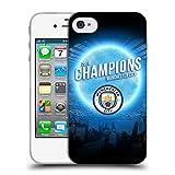 Head Case Designs Officiel Manchester City Man City FC Lune Bleue 2019 Champions Étui Coque en Gel Molle pour iPhone 4 / iPhone 4S