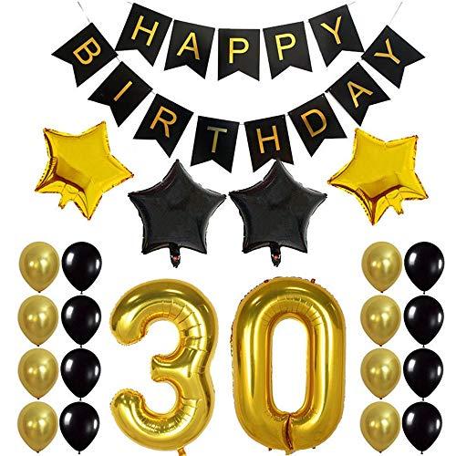 Crazy-M 30th Geburtstag Deko Set Nummer 30 Luftballon Geburtstag Party Deko für Männer Frau -2 STK Zahl 30 Aufblasbar Helium Folienballon+1 Happy Birthday Banner + 16 Latexballon + 4 Stern Ballon