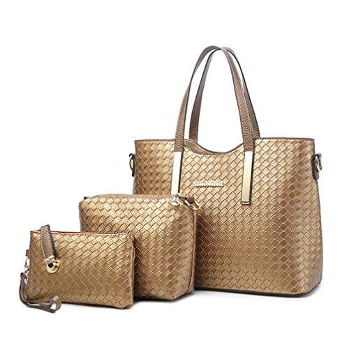Longlove Damen Geldbörse PU Leder Rucksack gewebt Schultertasche Handtasche Geldbörse (Gold) Gold