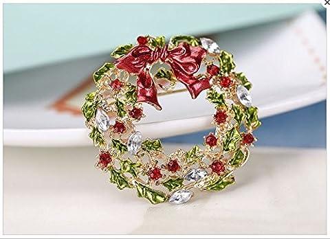 Tfxwerws Cadeau de Noël Décoration Beauté Strass Couronne Broche Guirlande Forme broches Noël