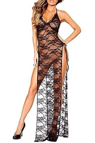 Kinikiss Lingerie Féminine Halter Taille Plus Robe Sexy en Dentelle Noir Robe Longue à rayures Longues