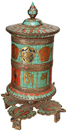Tibetisch-buddhistischen Ashtamangala Gebetsmühle, auf vishva-vajra stehen (hergestellt in Nepal)-Kupfer und Messing - Tibetische Gebetsmühle