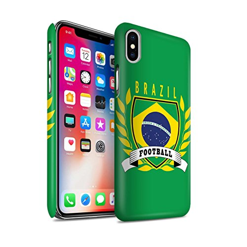 STUFF4 Matte Snap-On Hülle / Case für Apple iPhone X/10 / Schottland/Scottish Muster / Fußball-Emblem Kollektion Brasilien