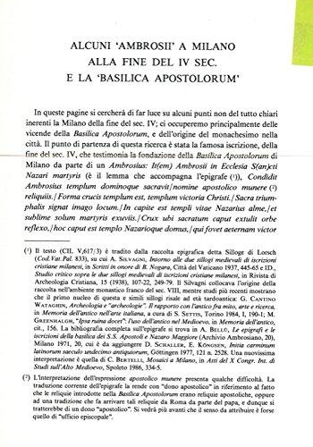 Alcuni 'Ambrosii' a Milano alla fine del IV sec. e la 'Basilica Apostolorum' .