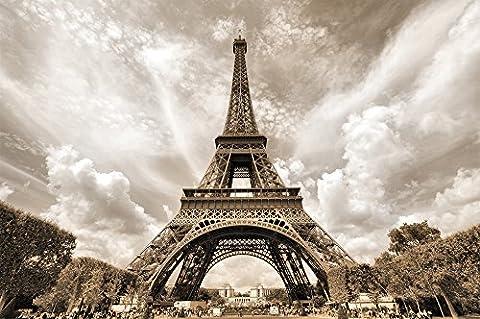 Papier peint photo avec la Tour Eiffel – décoration romantique photo mural XXXL poster – décoration murale avec la tour Eiffel à Paris by GREAT ART (210 cm x