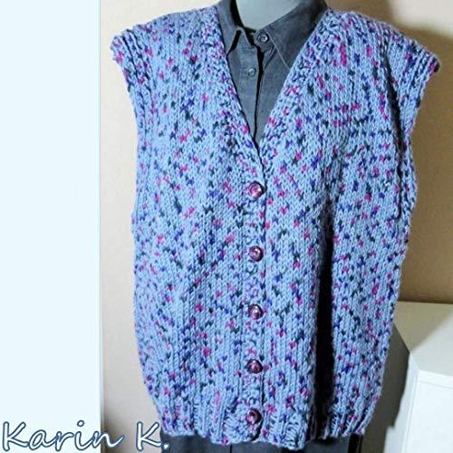 XL Weste handgestrickt Kastenform Taubenblau mit Einschüssen aus Violett Pink Anthrazit Farbverlauf tragbar in den Größen 44 bis 48
